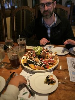 Chris Taylor and Nachos at Jackalopes at Tenaya Lodge Yosemite 1