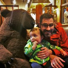 Chris Taylor and TinyMan with stuffed bear Wuksachi Lodge in Sequoia National Park 2traveldads.com
