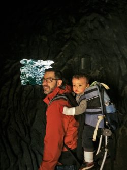 Chris Taylor and TinyMany in hiking pack in museum in Giant Forest in Sequoia National Park 2