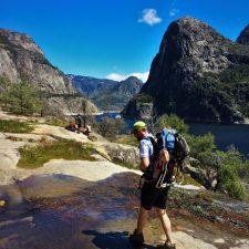 Chris Taylor crossing creek at Hetch Hetchy Yosemite National Park 5