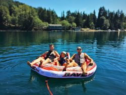 Chris and Rob Taylor with LittleMan Innertubing at Lake Cushman 2015 1