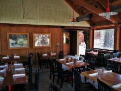 Dining Patio of tavern at Evergreen Lodge at Yosemite National Park 2