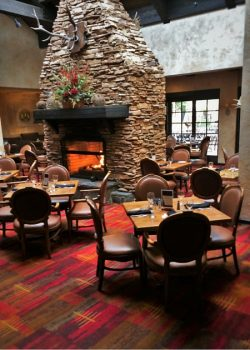 Fireplace in Sierra Restaurant of the Tenaya Lodge Yosemite 2traveldads.com