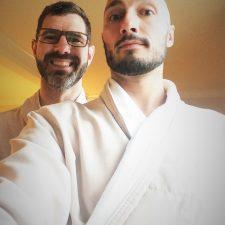 Chris and Rob Taylor in bathrobes at Bodega Bay Lodge 1