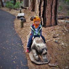 LittleMan riding carved bear at Evergreen Lodge at Yosemite National Park 1
