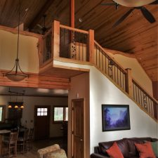 Living room and loft space of John Muir House at Evergreen Lodge at Yosemite National Park 1