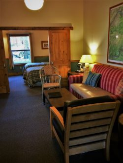Living room in family cabin at Evergreen Lodge at Yosemite National Park 1
