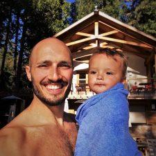 Rob Taylor and TinyMan at Swimming Pool at Evergreen Lodge at Yosemite National Park 2
