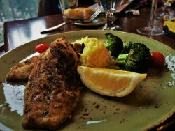 Snappy fish dinner in Peaks Dining Room at Wuksachi Lodge in Sequoia National Park 1