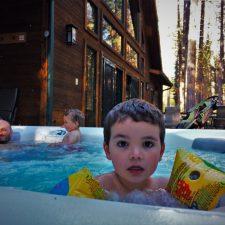 Taylor Family in Hot tub at John Muir House at Evergreen Lodge at Yosemite National Park 2