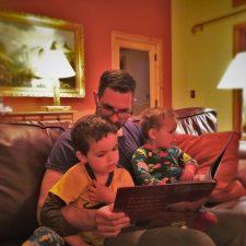 Taylor Family reading stories at Evergreen Lodge at Yosemite National Park 1