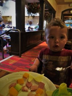 TinyMan eating breakfast in Sierra Restaurant at Tenaya Lodge Yosemite 1