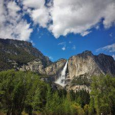Yosemite Falls from tram tour of Yosemite Valley Floor in Yosemite National Park 1