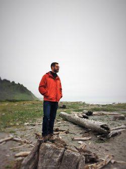 Chris Taylor on beach at Redwood National Park
