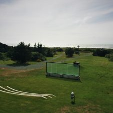 Outdoor bigscreen at Pacific Reef Hotel Gold Beach Oregon Coast 1