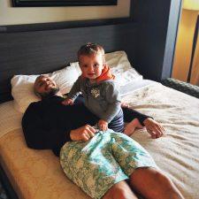 Rob Taylor and TinyMan at Condo unit at Pacific Reef Hotel Gold Beach Oregon Coast