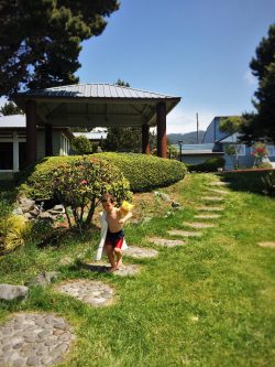 LittleMan at Hot Tub cabana at Pacific Reef Hotel Gold Beach Oregon Coast