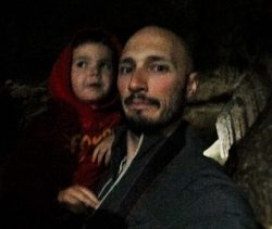 Rob Taylor and LittleMan at Oregon Caves National Monument in cavernq