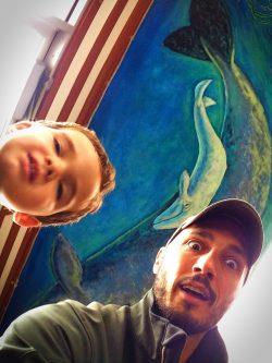 Rob Taylor and LittleMan at Trinidad Lighthouse Cafe