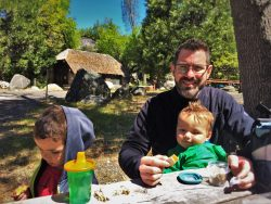 Chris Taylor and Kids having a picnic at Hetch Hetchy Yosemite National Park 2