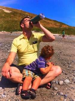 Chris Taylor and TinyMan on Beach at Whidbey Island Fort Casey 1