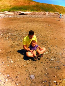 Chris Taylor and TinyMan on beach at Fort Casey Whidbey Island 1e