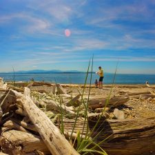 Driftwood and Taylor Kids on beach at Whidbey Island 1