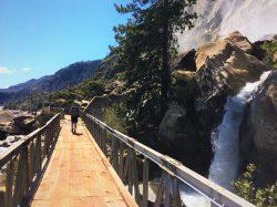 Chris Taylor crossing footbridges at Hetch Hetchy Yosemite National Park 2