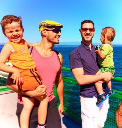 Taylor Family on Seattle Bainbridge Ferry LGBT family