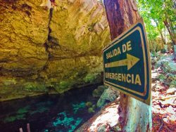 Evacuation sign at Mouth of Cenotes Dos Ojos Playa del Carmen Mexico