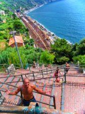 Rob Taylor climbing stairs in Corniglia Cinque Terre Italy