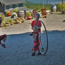 Taylor Kids Hula Hooping at AniChe Cellars Underwood Columbia River Gorge 1