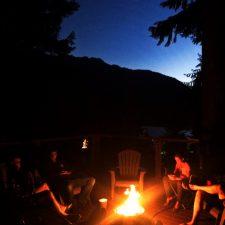 Campfire on deck at VRBO Lake Cushman Family Reunion 1