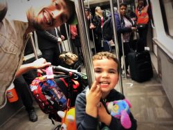 Taylor Family travel at ATL MARTA train