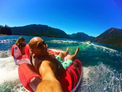 Taylor Family on Inner Tube at Lake Cushman 2