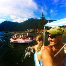 Rob Taylor and Family playing on Lake Cushman