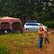 Taylor Kids camping at Cle Elum River campground 1
