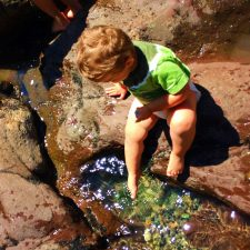 TinyMan playing in pool at Silver Falls Mt Rainier National Park 2