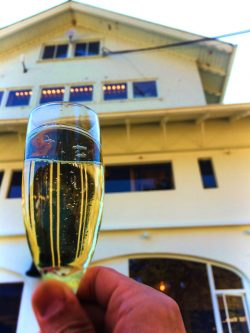 Having champagne at Rosario Resort Destination Dining Pretty Fork 1