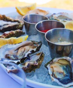 Oysters and accoutrements at Rosario Resort
