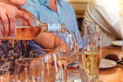 Wine Pour for Pretty Fork Destination Dining guests Inn at Ship Bay Orcas Island