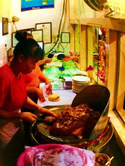Roasted pork for Chinese buns in Xian Shaanxi China 1