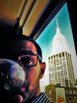 Chris Taylor having happy hour by Empire State Building
