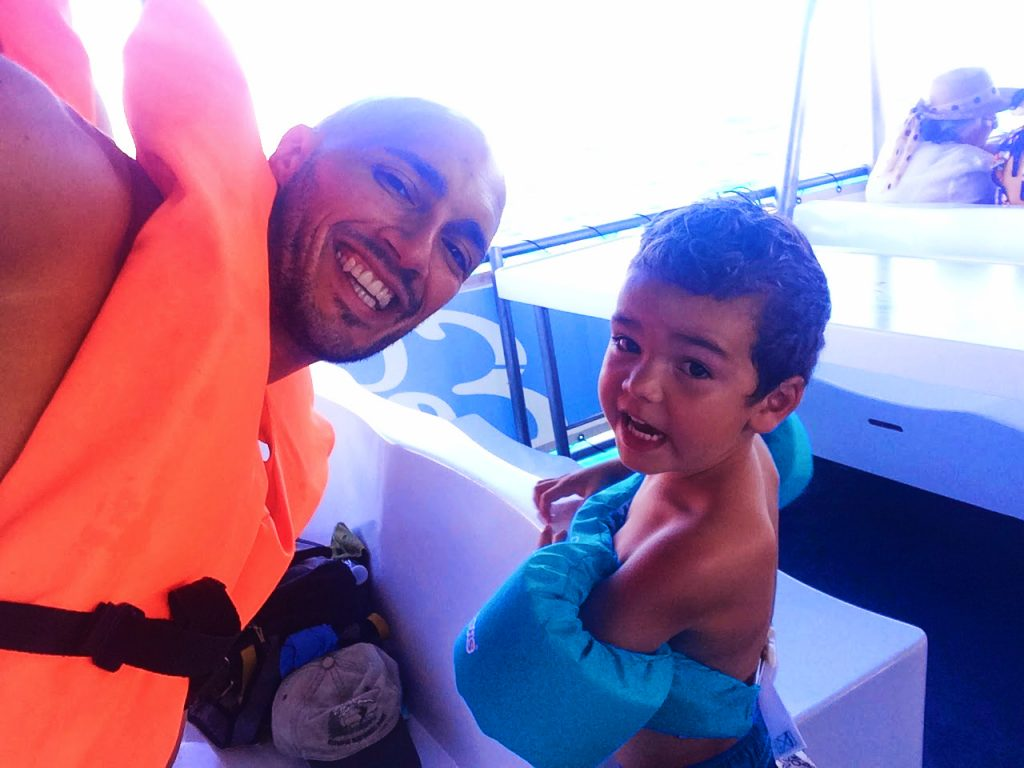 Rob Taylor and LittleMan wearing life jackets for snorkeling in Cabo San Lucas