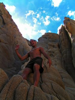 Rob Taylor climbing rocks at Lovers Beach in Cabo San Lucas 2