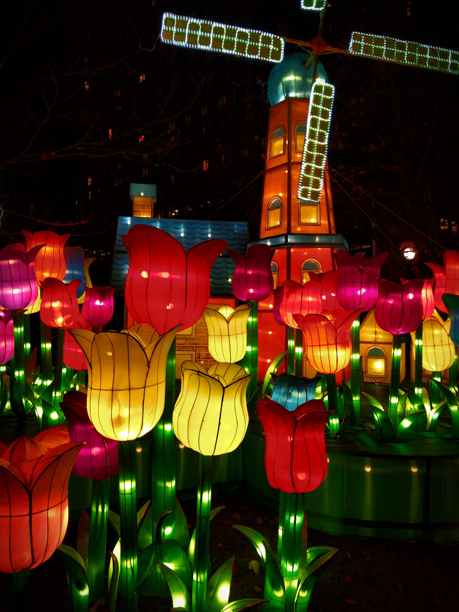 Dutch Windmill And Tulip Lanterns At Chinese Lantern Festival