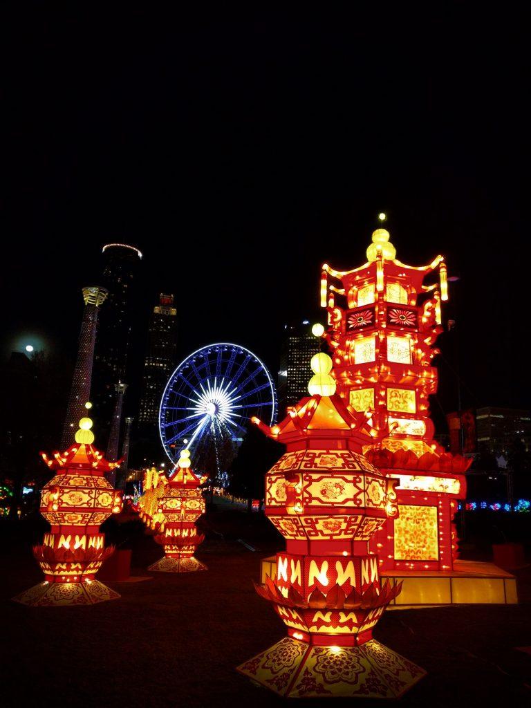skyview and pagoda lanterns at chinese lantern festival atlanta 1 2 travel dads. Black Bedroom Furniture Sets. Home Design Ideas