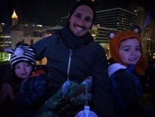 Taylor family at Skyview Atlanta ferris wheel at night 3