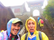 Rob Taylor and Friends entering Buddhist temple at Taibai Mountain National Park 1
