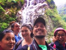 Rob Taylor and Friends with Waterfall at Taibai Mountain National Park 1